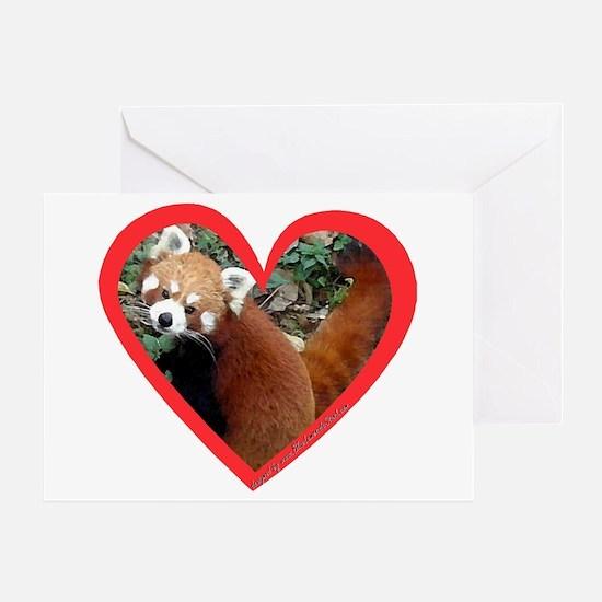 Red Panda Heart Greeting Cards