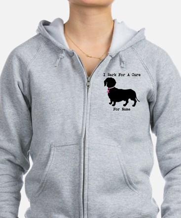Dachshund Personalizable I Bark For A Cure Zip Hoodie