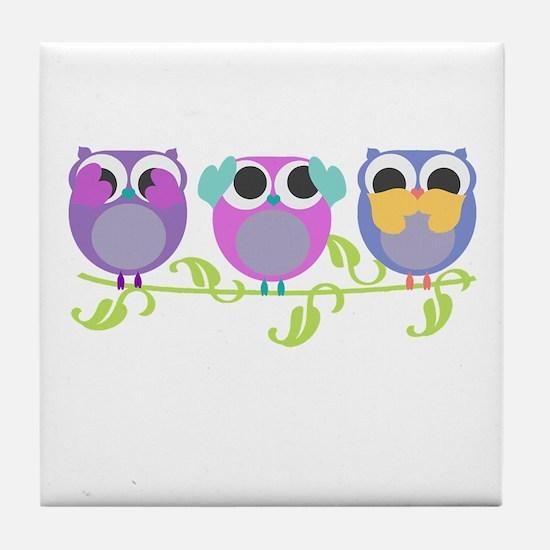 see hear speak no evil owls Tile Coaster