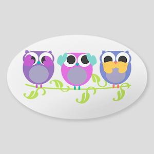 see hear speak no evil owls Sticker (Oval)