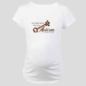 Au-some Mom Unlocking Autism Maternity T-Shirt
