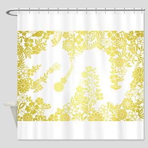 Yellow Flower Dragon Shower Curtain