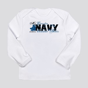 Grandpa Combat Boots - NAVY Long Sleeve Infant T-S