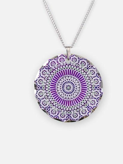 purple crown seventh chakra mosaic circle Necklace