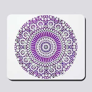 purple crown seventh chakra mosaic circle Mousepad