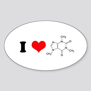 I Love Caffiene Oval Sticker