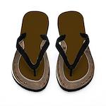Horse Shoe Flip Flops in brown
