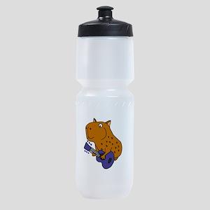 Capybara Playing Guitar Sports Bottle