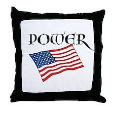 American Flag Power Throw Pillow