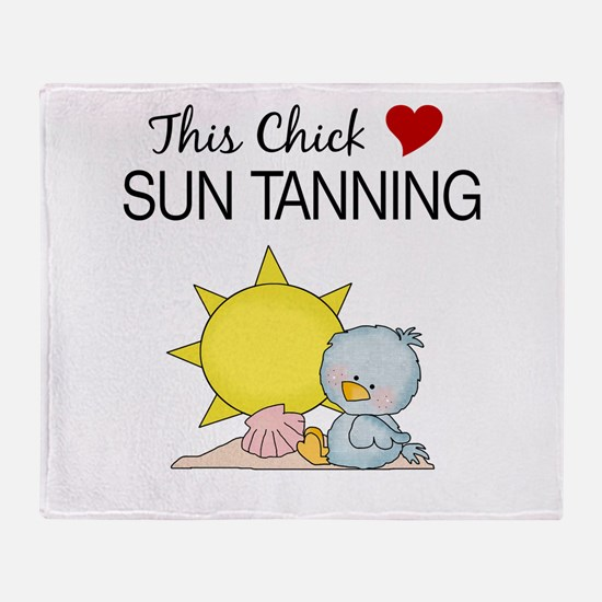 This Chick Loves Sun Tanning Throw Blanket