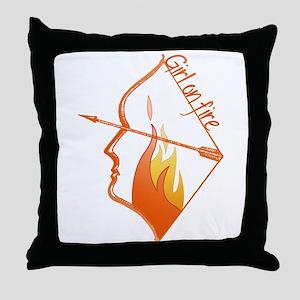 Girl on Fire Throw Pillow