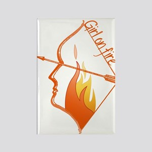 Girl on Fire Rectangle Magnet