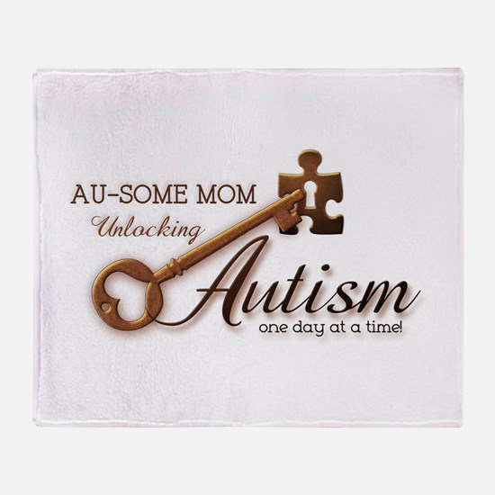 Au-some Mom Unlocking Autism Throw Blanket