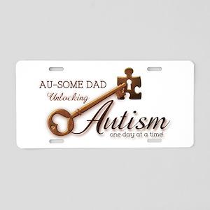 Au-some Dad Unlocking Autism Aluminum License Plat