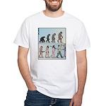 Mans Evolution to the Pub White T-Shirt