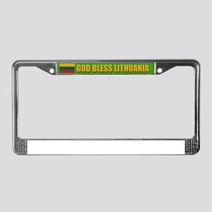 God Bless Lithuania License Plate Frame
