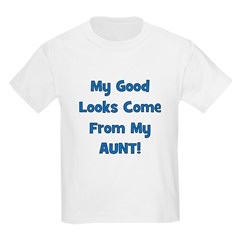 Good Looks From Aunt - Blue Kids T-Shirt