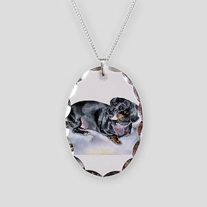 Annie the Dachshund Necklace Oval Charm