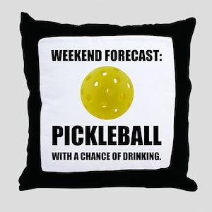 Weekend Forecast Pickleball Drinking Throw Pillow