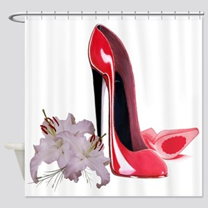 Red Stiletto Shoes and Lilies Shower Curtain