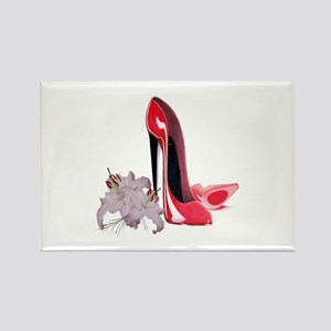 Red Stiletto Shoes and Lilies Rectangle Magnet