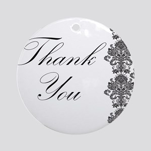 BW Thank You Card Ornament (Round)