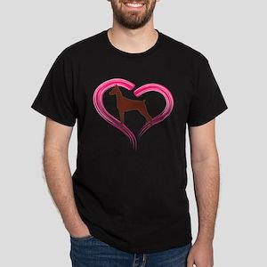Heart My Red Doberman Dark T-Shirt