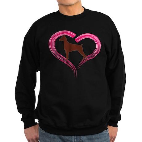 Heart My Red Doberman Sweatshirt (dark)