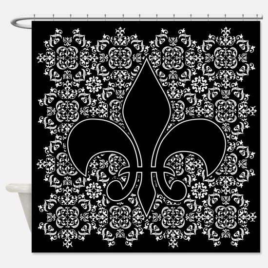 Fleur de Lis w/Ornamental bckgrnd Shower Curtain
