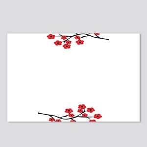 Red Cherry Blossom Invite Postcards (Package o