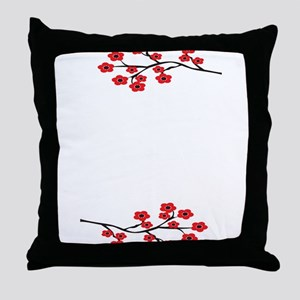 Red Cherry Blossom Invite Throw Pillow