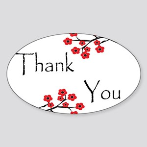 Red Cherry Blossoms Thank You Sticker (Oval)