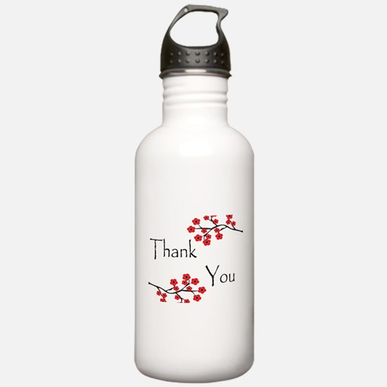 Red Cherry Blossoms Thank You.jpg Sports Water Bottle