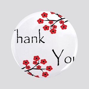 "Red Cherry Blossoms Thank You 3.5"" Button"