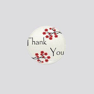 Red Cherry Blossoms Thank You Mini Button
