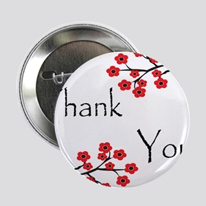 """Red Cherry Blossoms Thank You 2.25"""" Button"""