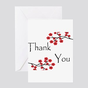 Red Cherry Blossoms Thank You Greeting Card