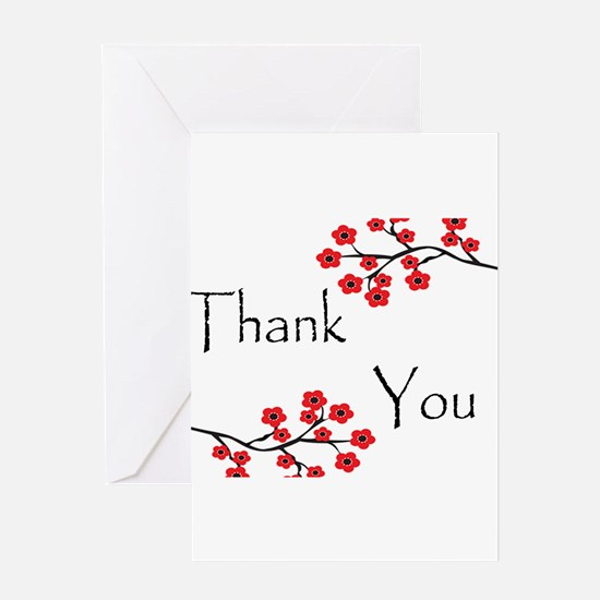 Red Cherry Blossoms Thank You.jpg Greeting Card