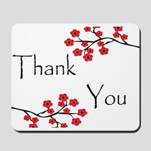 Red Cherry Blossoms Thank You Mousepad