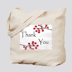 Red Cherry Blossoms Thank You Tote Bag