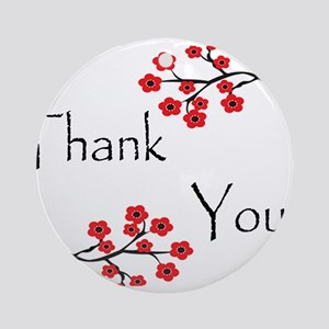 Red Cherry Blossoms Thank You Ornament (Round)