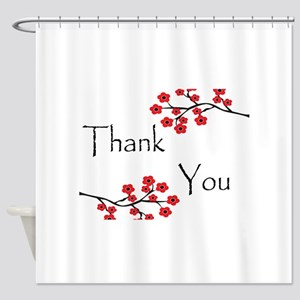 Red Cherry Blossoms Thank You Shower Curtain