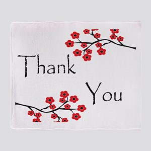 Red Cherry Blossoms Thank You Throw Blanket