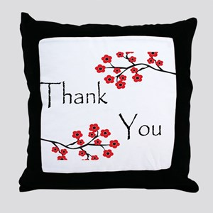 Red Cherry Blossoms Thank You Throw Pillow