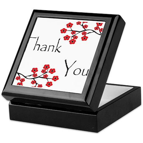Red Cherry Blossoms Thank You Keepsake Box