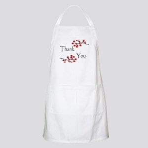 Red Cherry Blossoms Thank You Apron