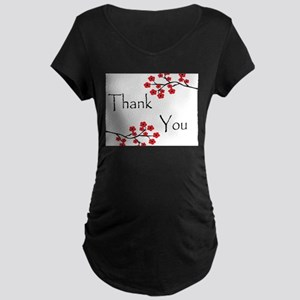 Red Cherry Blossoms Thank You Maternity Dark T