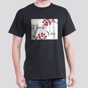 Red Cherry Blossoms Thank You Dark T-Shirt