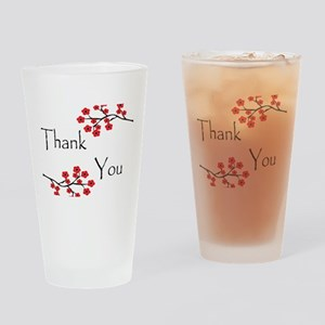 Red Cherry Blossoms Thank You Drinking Glass
