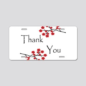 Red Cherry Blossoms Thank You Aluminum License